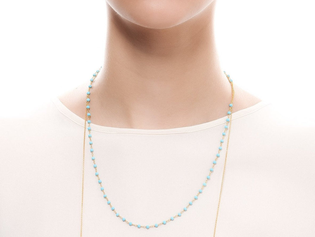 iprecious-creations - Turquoise in Sterling Silver Necklace in 22K Gold Vermeil 100% Handmade, Turquoise Necklace, Rosary -