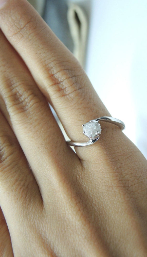 iprecious-creations - Real Raw Diamond Ring, Rough Diamond Ring, 1.50 Carat Uncut Diamond Ring, Anniversary Ring, Engagement Ring -