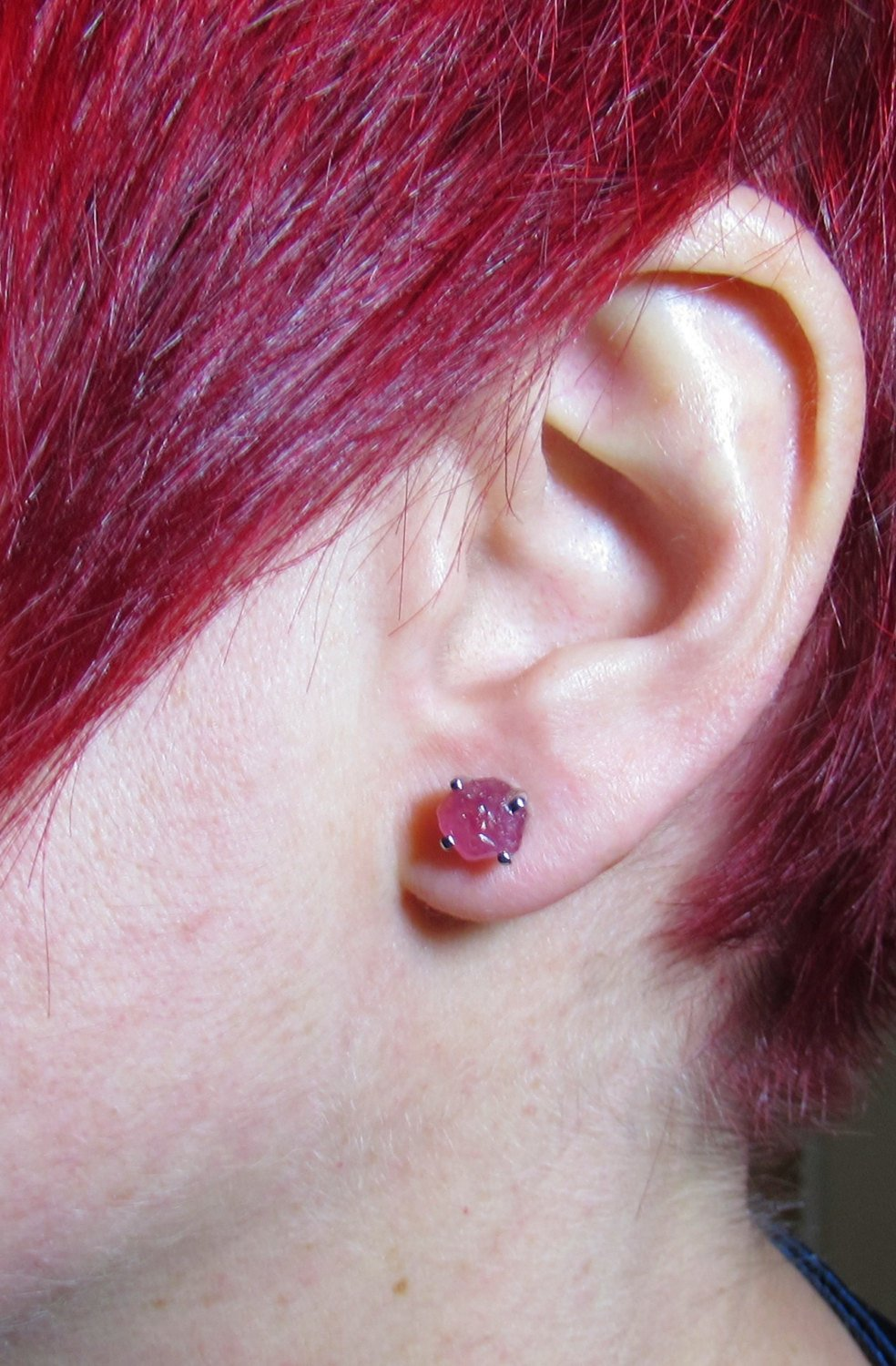 iprecious-creations - 4 Carats Raw Ruby Earrings - Rough Ruby Earrings - Uncut Ruby Earrings - Natural Ruby - Real Ruby - Jewelry