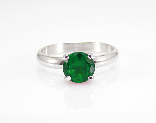 iprecious-creations - Engagement Ring -  Classic Style - Wedding Ring - Round Cut Solitaire Ring - 1.80 Carat - Sterling Silver - Emerald Ring - Jewelry
