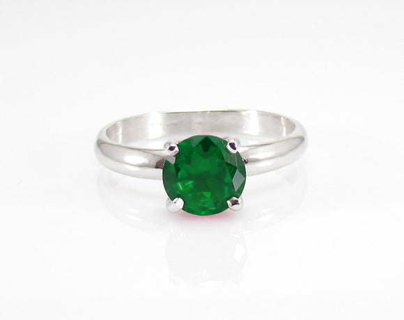 Engagement Ring -  Classic Style - Wedding Ring - Round Cut Solitaire Ring - 1.80 Carat - Sterling Silver - Emerald Ring