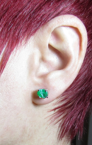 iprecious-creations - 4.00+ Carat Raw Emerald Earrings - Rough Emerald Earrings - Emerald Stud Earrings - Uncut Emerald Gemstone - Green Emerald Earrings - Jewelry