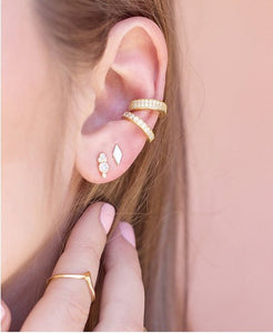 18K Gold Ear Cuff Set , Pave Ear Cuffs , Non Pierced Ear Cuff, Ear Wrap, Set Ear Cuffs , Latest Fashion