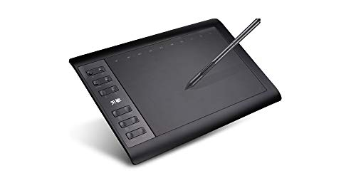 10moons Graphics Tablet, 10 x 6 Inch Large Drawing Tablet, 8192 Levels  Pressure Battery-Free Pen Stylus, 8 Hotkeys, Compatible with Windows 10/8/7  Mac