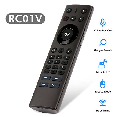 Voice Remote Control, HAOSIHD RC01V 2 4Ghz Wireless Air Mouse Control  Remote Infrared Leaning for Android TV Box Windows MAC OS and
