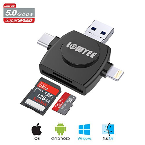 SD / Micro SD Card Reader, LOWYEE TF & MicroSD Memory Card Camera Adapter  for iPhone/iPad/Galaxy S8/Macbook Pro, Trail Game Camera Viewer With