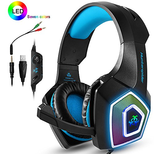 PS4 Headset,Xbox One Headphones,Gaming Headset with LED light,Stereo Gamer  Headphones,3 5mm wired Over-ear Noise Isolating Microphone Volume Control