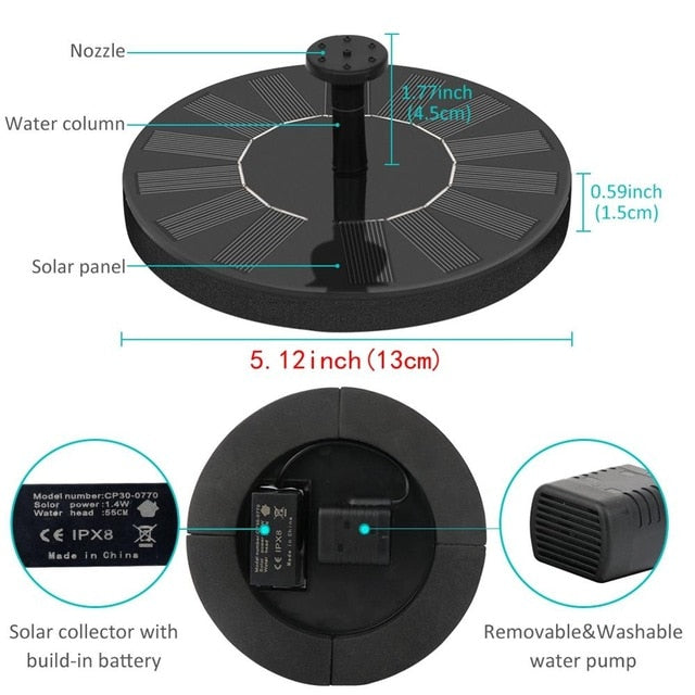 Solar Water Fountain Pool Pond Waterfall Fountain Garden Decoration Outdoor Bird Bath Solar Powered Fountain Floating Water