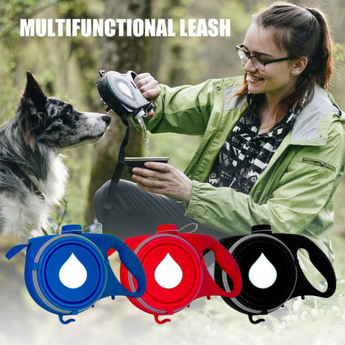 Multifunction Dog Leash with Built-in Water Bottle