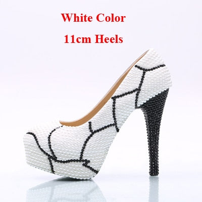 ... Bridesmaid Shoes Plus Size White Pearl with Black Rhinestone Wedding  Shoes Women High Heel Platform Shoes ... d643c5f5a0b0