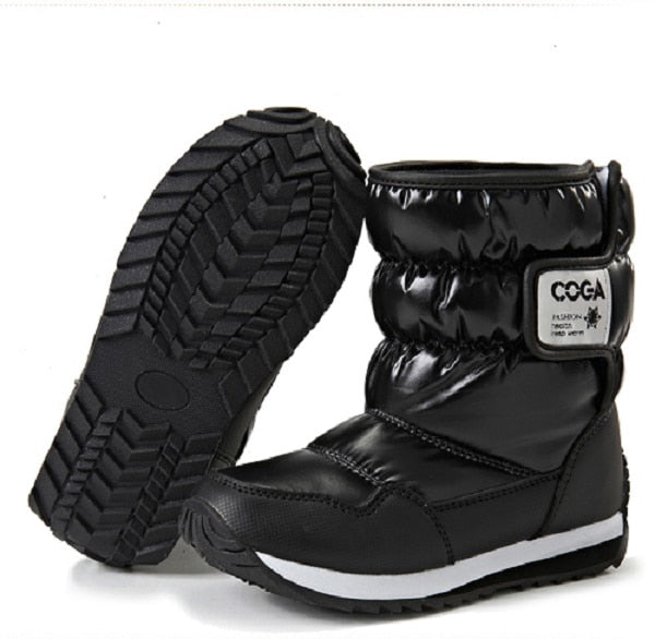 93a9b22bc25 ... Children Snow Boots Girls Shoes Winter Boots Fashion Plush Kids Shoes  Water-Proof Students Sneakers ...