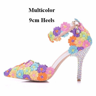 4630105a9bc801 Flower Bride Dress Shoes High Heel Wedding Party Shoes With Ankle Strap Bridesmaid  Shoes Pointed Toes ...