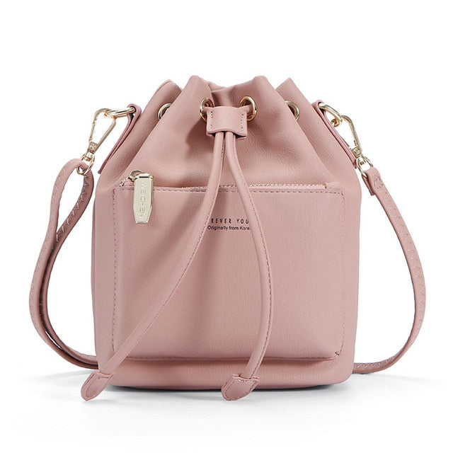 5ea895e61fea ... WEICHEN Fashion Bucket Shoulder Bag Women Drawstring Crossbody Bag  Female Messenger Bags Ladies Synthetic Leather Handbag ...