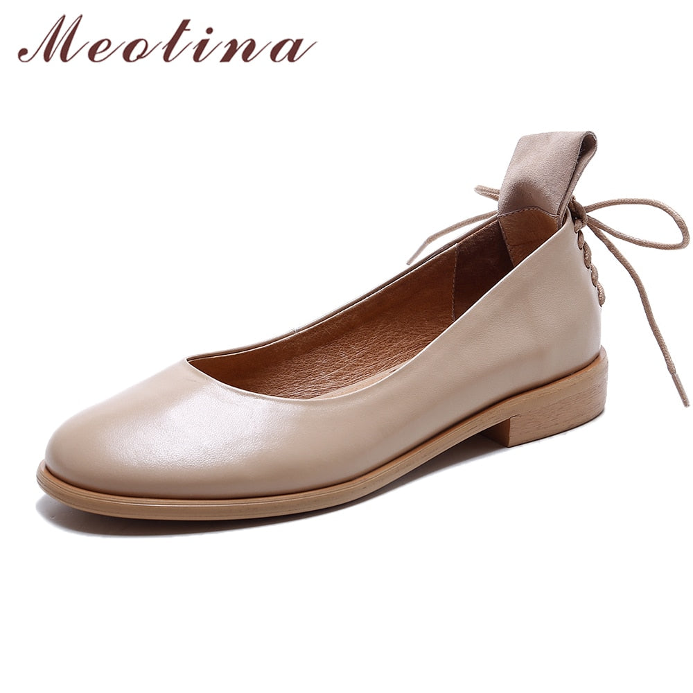 ... Women Genuine Leather Flats Casual Ladies Boats Shoes ... 645564aef615