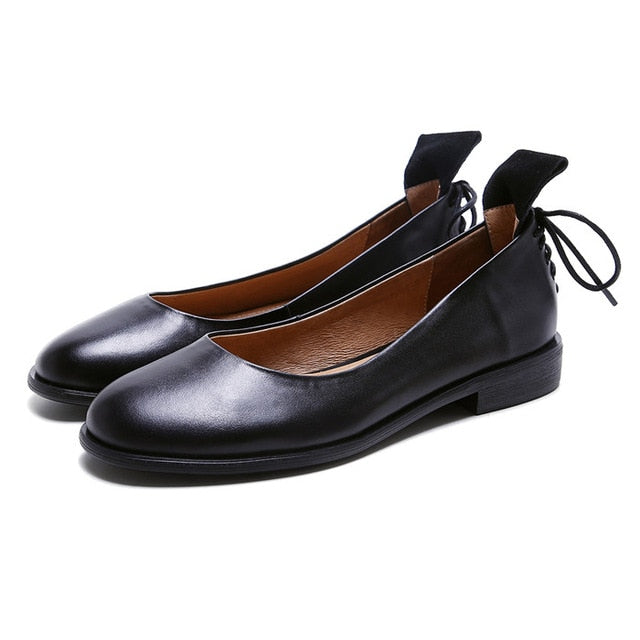 ... Women Genuine Leather Flats Casual Ladies Boats Shoes ... 7702f31b64ec