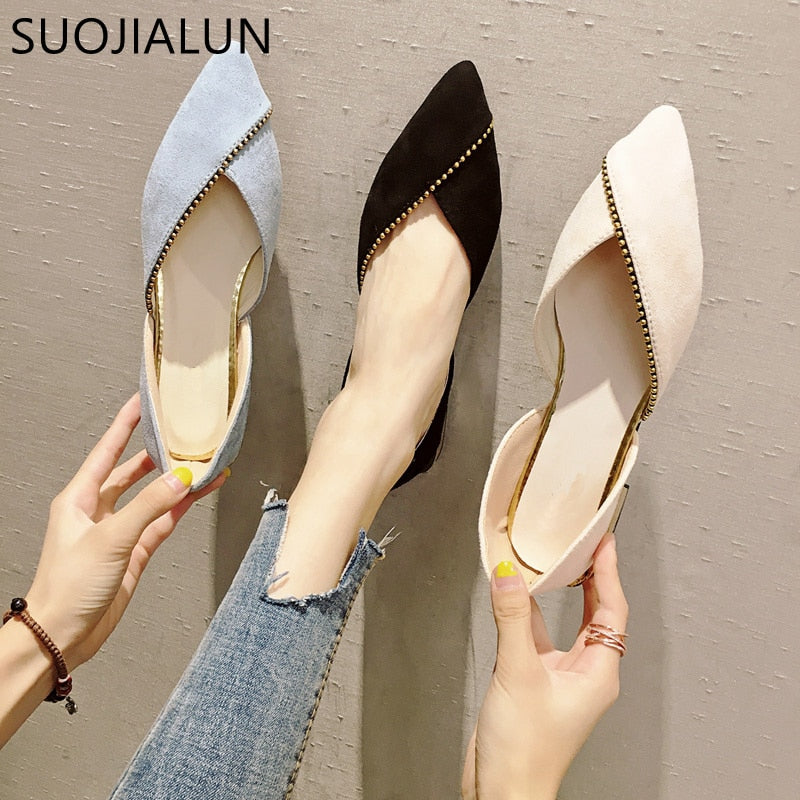 ... Female Ballet Shoes Slip On Loafers Pointed Toe Casual Espadrilles ... 35f435d7c3dd
