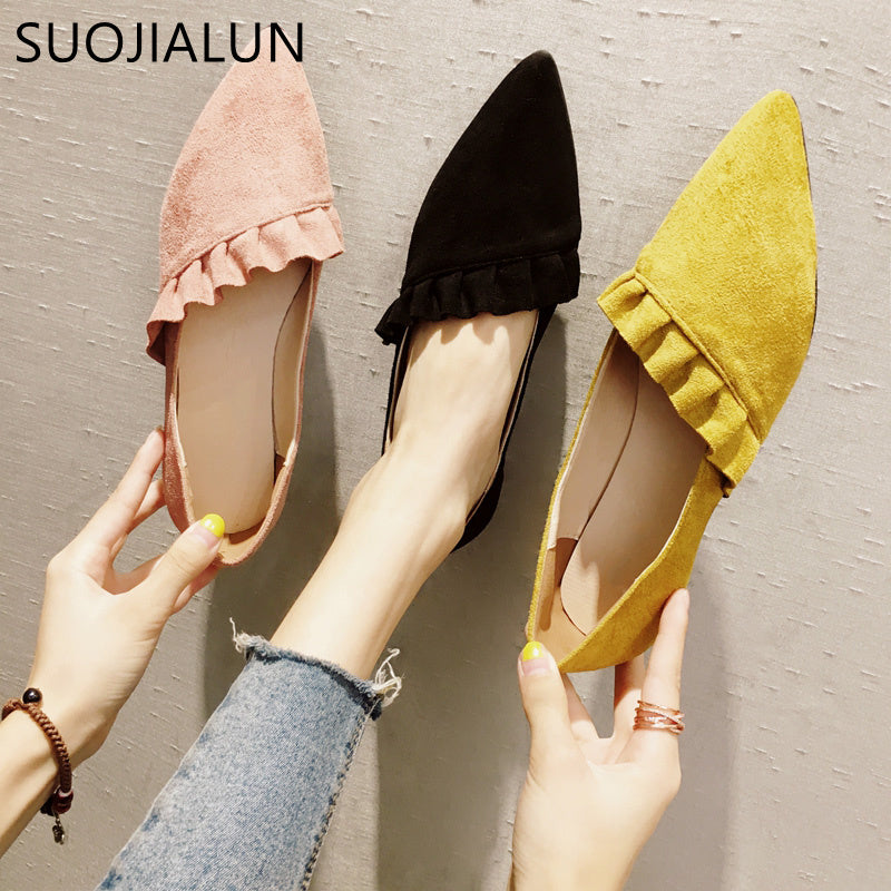 ... Pointed Toe Women Flat Shoes Ruffles Suede Leather Ballerina Ballet Flat  ... 98c654e42f17