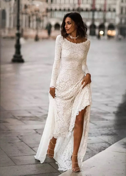 Alessia Long Sleeve Lace Mermaid Wedding Dress - Mondainé Bridal Studio
