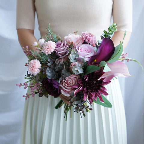 Purple and Pink Wedding Bouquet - Mondainé Bridal Studio