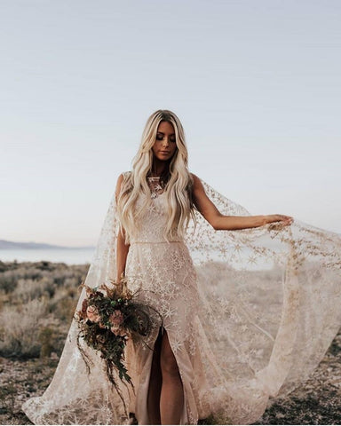 Felicienne Boho Plus Size Bridal Gown with Cape - Mondainé Bridal Studio