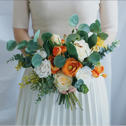 Vintage Orange Wedding Bouquet - Mondainé Bridal Studio
