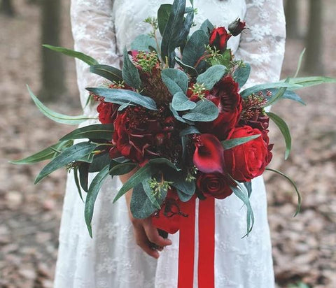Dark Red Bridal Bouquet - Mondainé Bridal Studio
