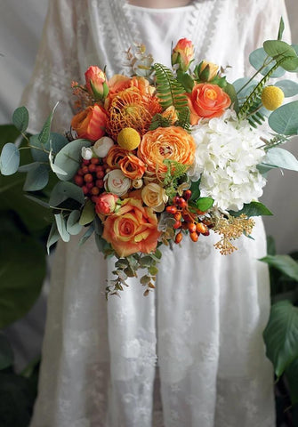 Georgette Orange Wedding Bouquet - Mondainé Bridal Studio