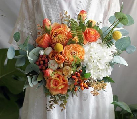 Orange Silk Flower Wedding Bouquet - Mondainé Bridal Studio