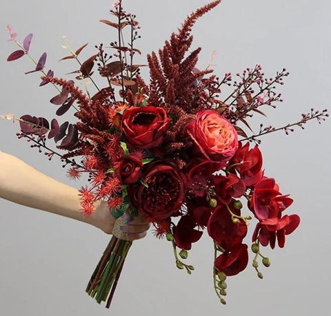 Dark Red Autumn Wedding Bouquet - Mondainé Bridal Studio