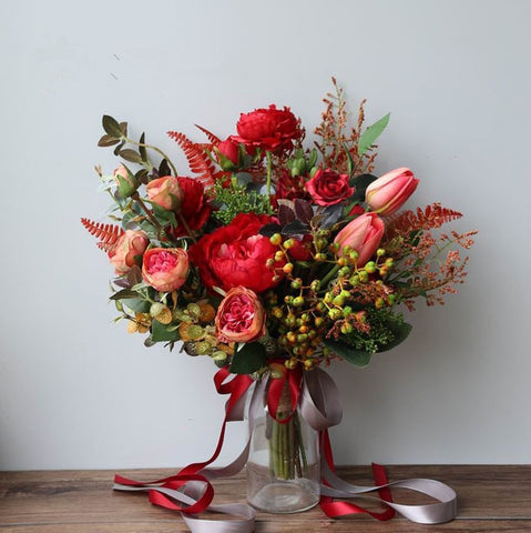 Red Garden Wedding Bouquet - Mondainé Bridal Studio