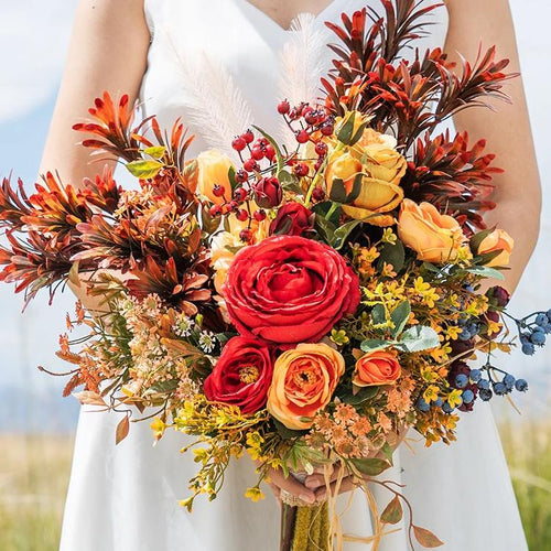 Autumn Orange Red Wedding Bouquet - Mondainé Bridal Studio