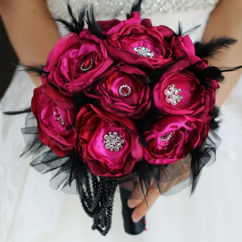 Bechet Red Brooch Wedding Bouquet - Mondainé Bridal Studio