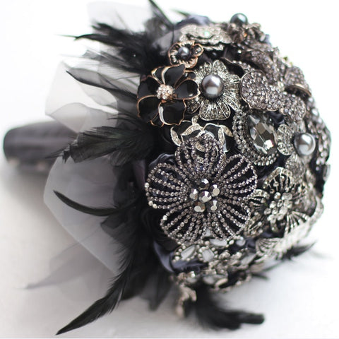 Black Feather Brooch Bouquet - Mondainé Bridal Studio