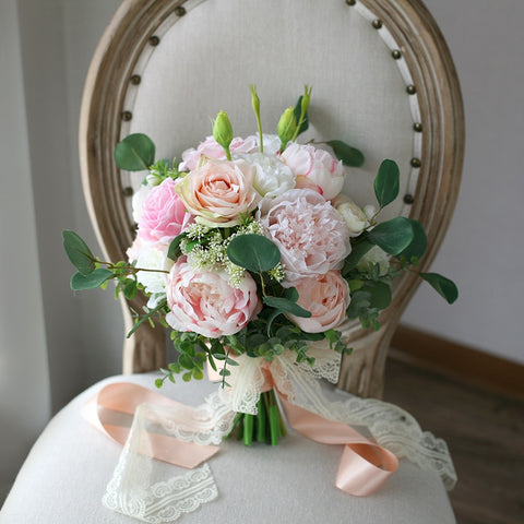Pink Bridal Bouquet Peonies and Roses - Mondainé Bridal Studio