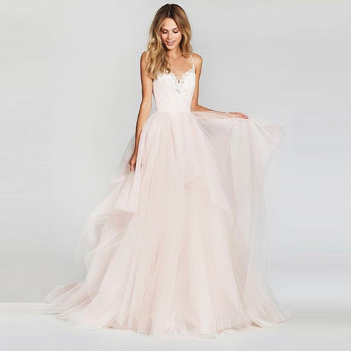 Adélaïde Pink Plus Size Wedding Dress with Lace Top - Mondainé Bridal Studio