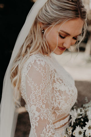 Cecarine Boho Lace Plus Size Wedding Dress - Mondainé Bridal Studio