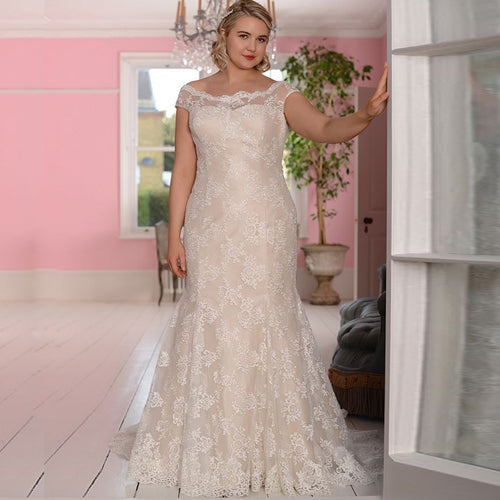 Alexandrine Ivory Plus Size Lace Wedding Dress - Mondainé Bridal Studio