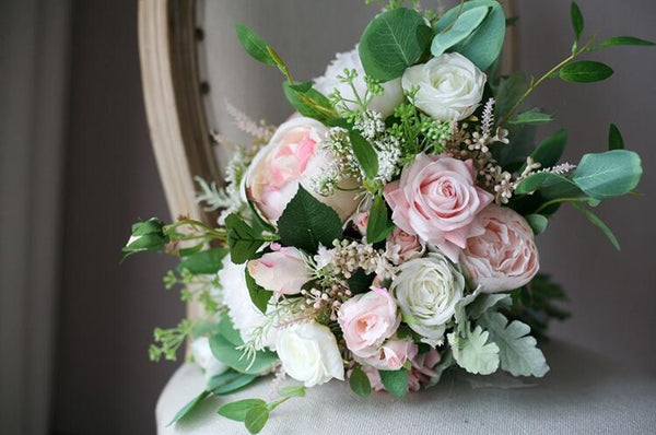 Fresh Pink and White Wedding Bouquet - Mondainé Bridal Studio
