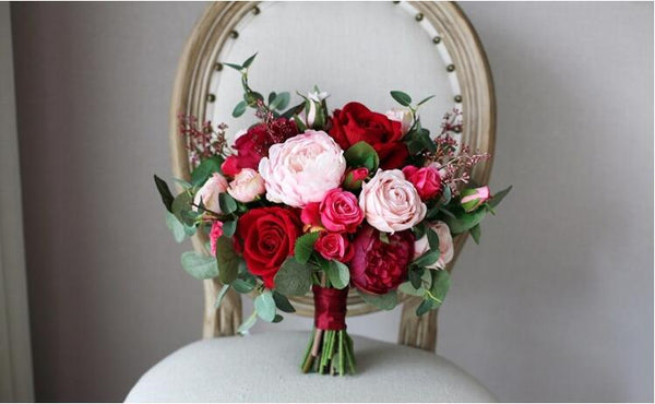 Red Rose Wedding Bouquet - Mondainé Bridal Studio