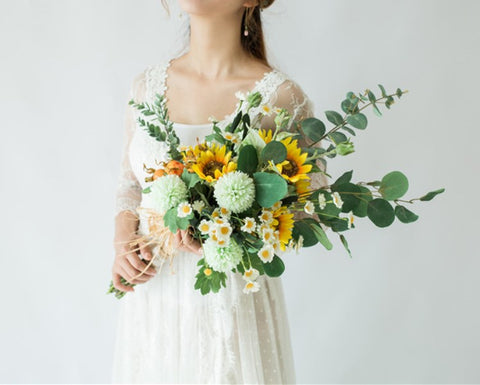 Summer Sunflower Waterfall Wedding Bouquet - Mondainé Bridal Studio