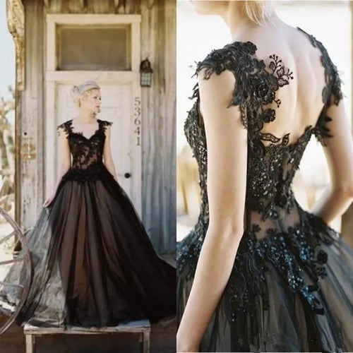 Aloyse Vintage Plus Size Black Wedding Dress - Mondainé Bridal Studio