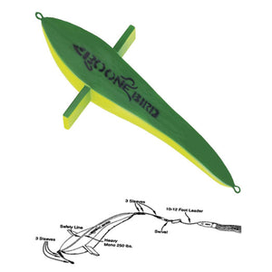 Boone Pre-Rigged Teaser Bird (Green/Yellow) JB Tackle