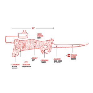 Bubba Blade Lithium-Ion Electric Fillet Knife Diagram JB Tackle