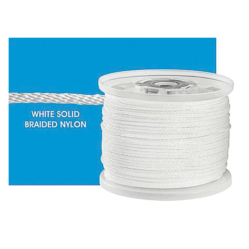 "Braided Nylon 1/8"" X 500' Outrigger Line (White) JB Tackle"