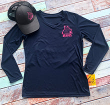 Load image into Gallery viewer, Navy & Neon Pink V-Neck LS