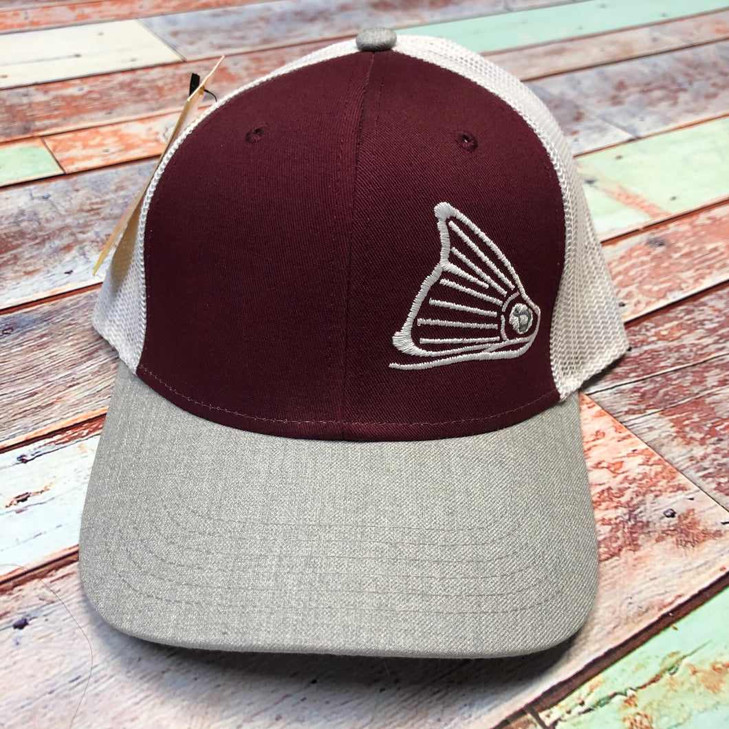 Cap-Heather Grey, Maroon & White