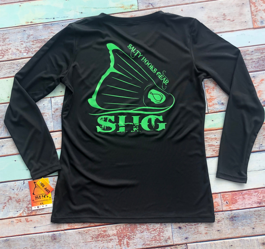 Black & Neon Green V-Neck LS