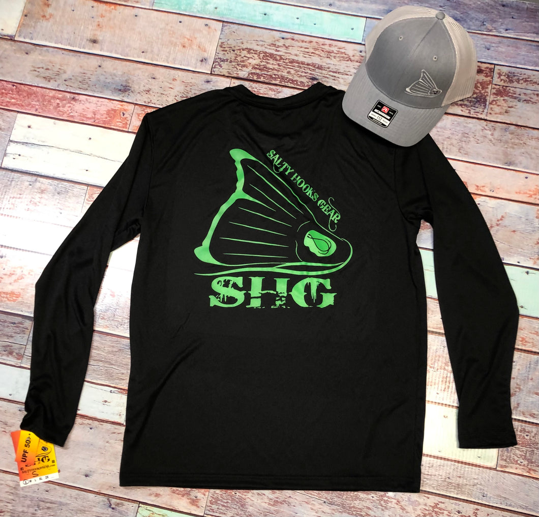 Black & Neon Green Crew LS