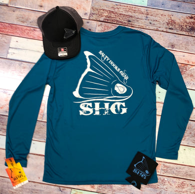 Teal & White Crew LS