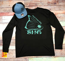 Load image into Gallery viewer, Black & Teal Crew LS